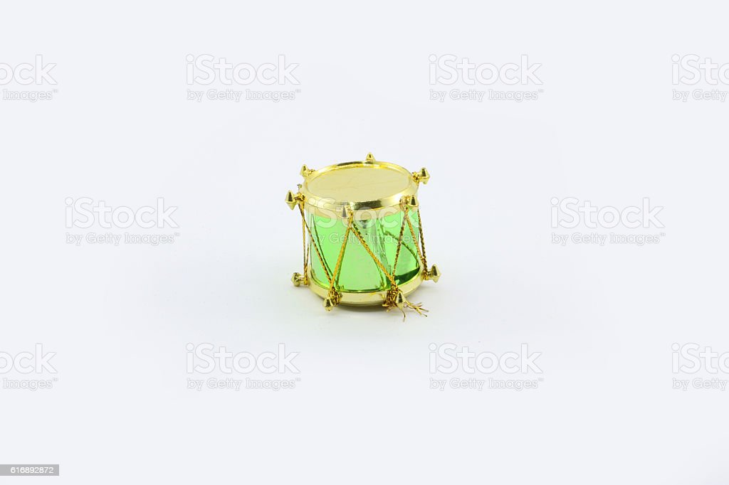 Decorative green drum Christmas ornament isolated stock photo