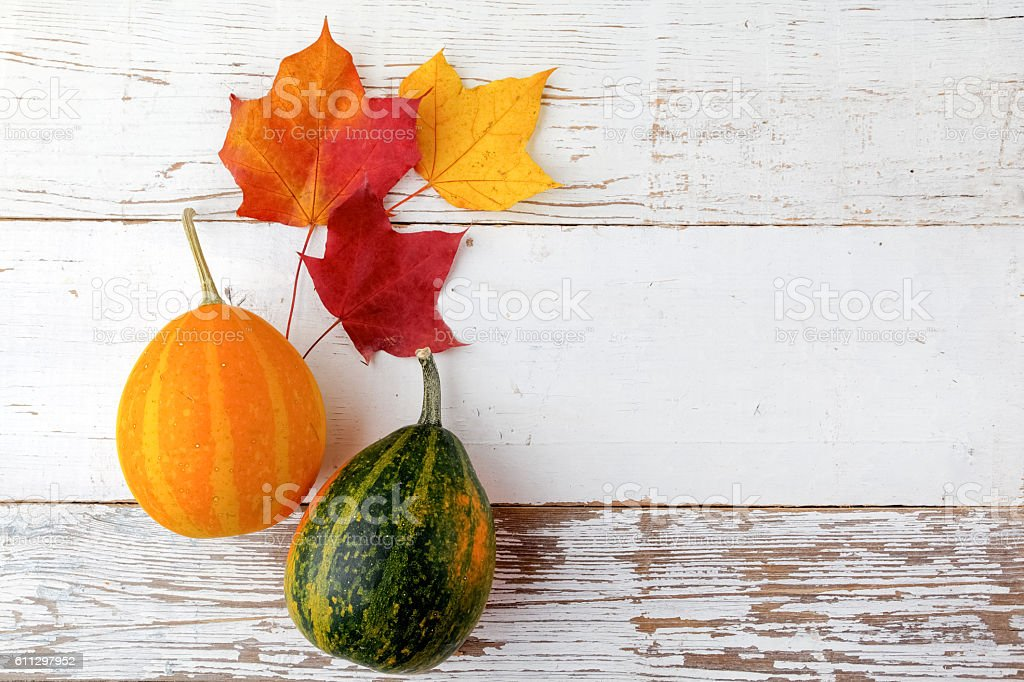 Decorative Halloween and autumn frame with pumpkins on white wooden stock photo