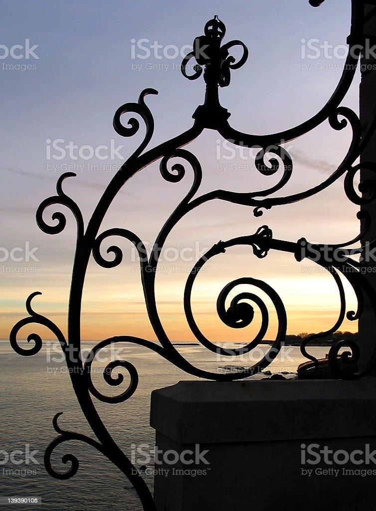Decorative Iron at Cliff Walk stock photo
