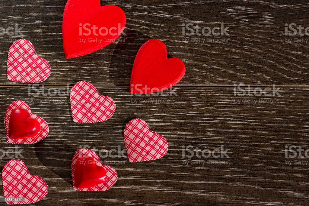 Decorative items for the celebration of Valentines Day stock photo