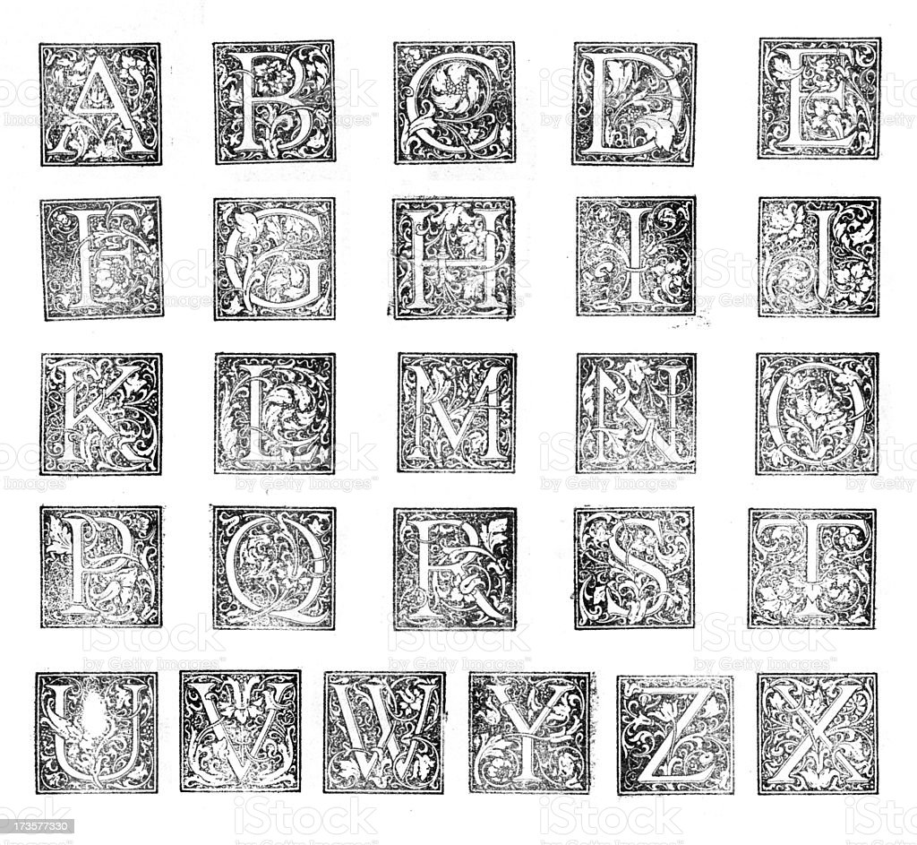 Decorative letterpress initials stock photo