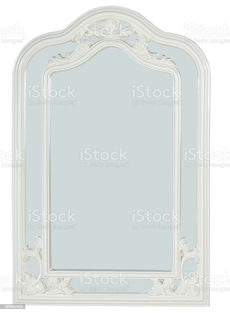 decorative mirror, picture frame isolated on white with path royalty-free stock photo