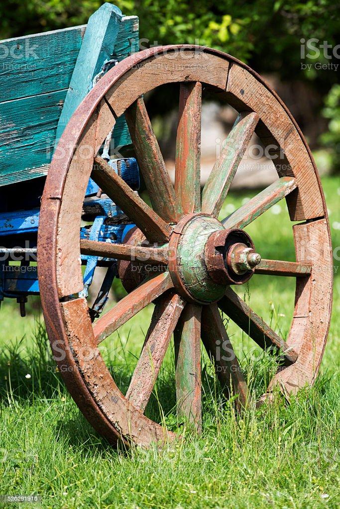 Decorative Old Wooden Horse Cart Wheel stock photo