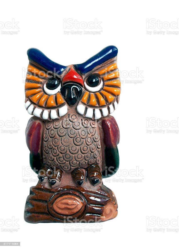 Decorative owl on white stock photo
