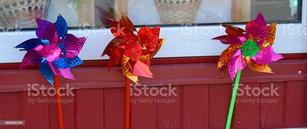 Decorative plastic wind catchers for sale stock photo