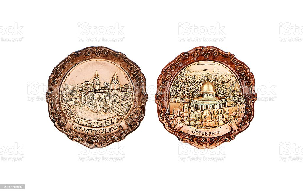 Decorative plates - Jerusalem and Bethlehem stock photo