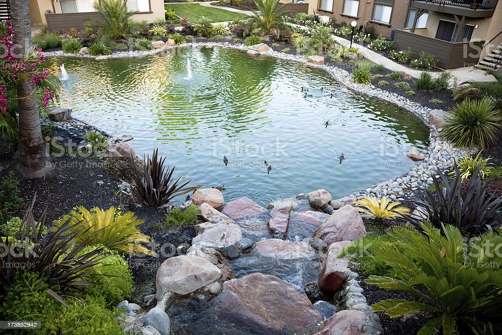 Decorative Pond Between Buildings royalty-free stock photo