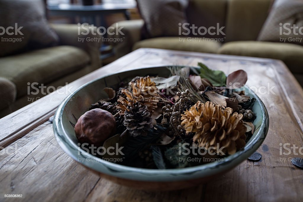 Decorative Potpouri Bowl Interior Design Detail stock photo