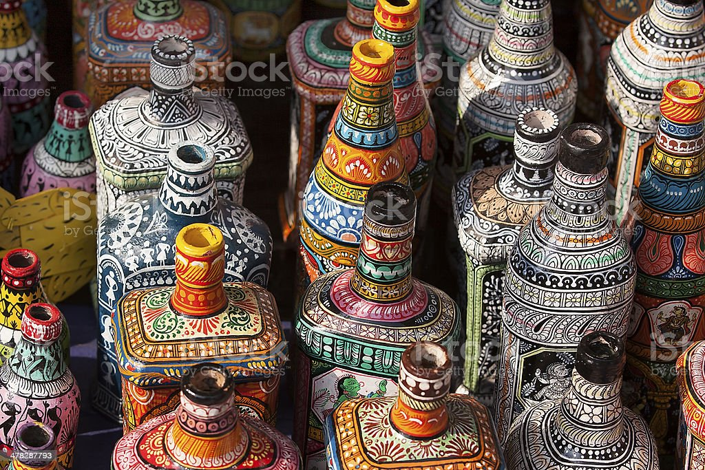 Decorative Pottery and bottles on display in shop for sale stock photo