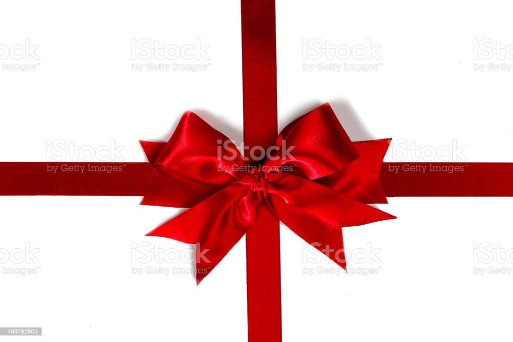 Decorative red satin bow stock photo