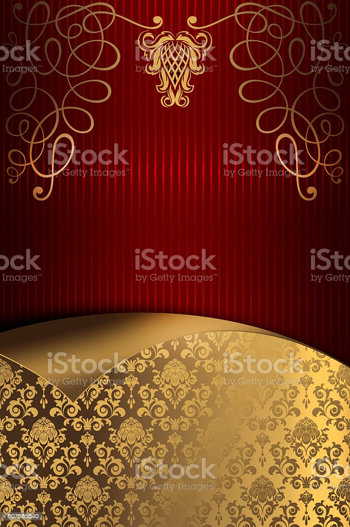 Decorative red striped background with gold floral patterns. stock photo