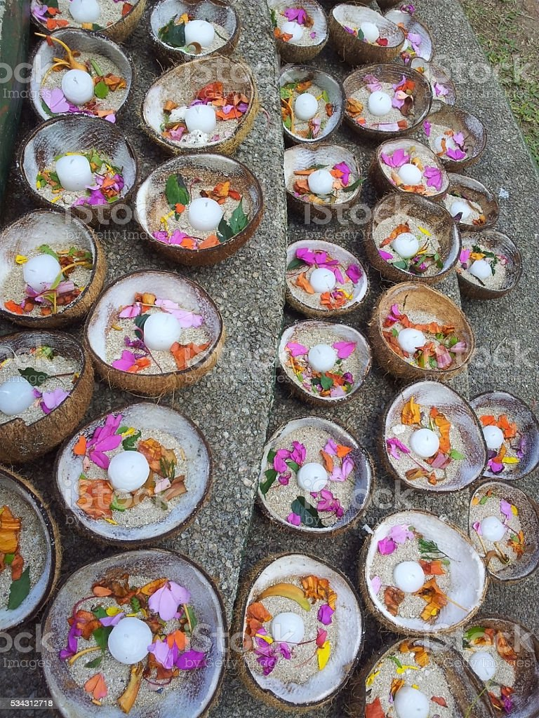 Decorative ritual lighting candle objects with leaves stock photo