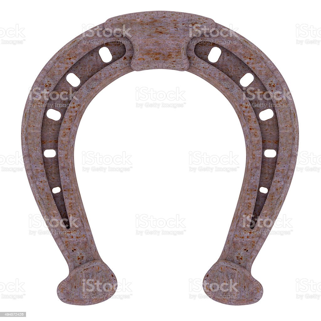 Decorative rusty horseshoe stock photo