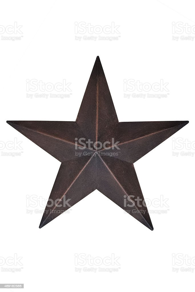 Decorative rusty metal star decor with clipping mask stock photo