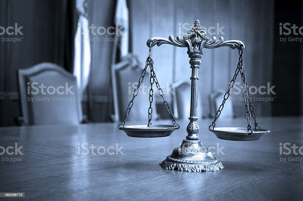 Decorative Scales of Justice in the Courtroom royalty-free stock photo