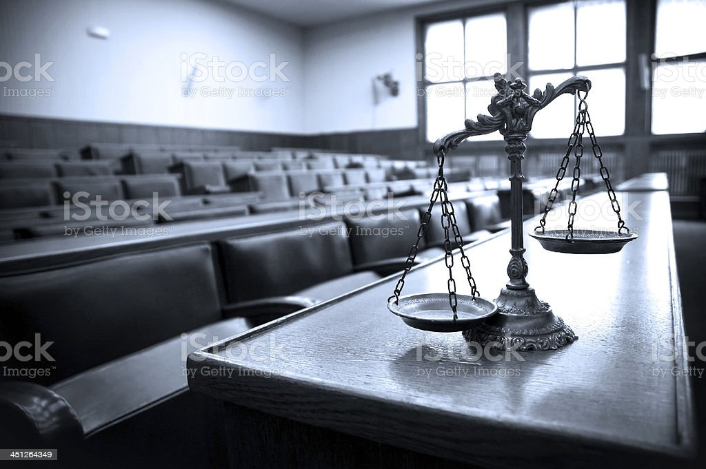 Decorative Scales of Justice in the Courtroom stock photo