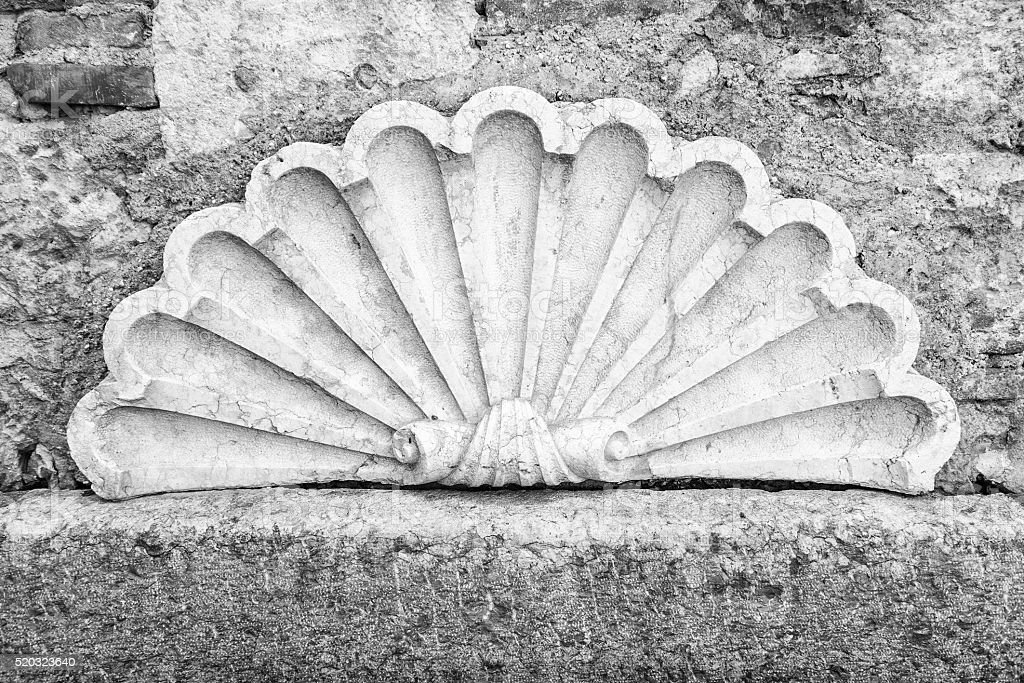 Decorative shell carved in white marble. stock photo