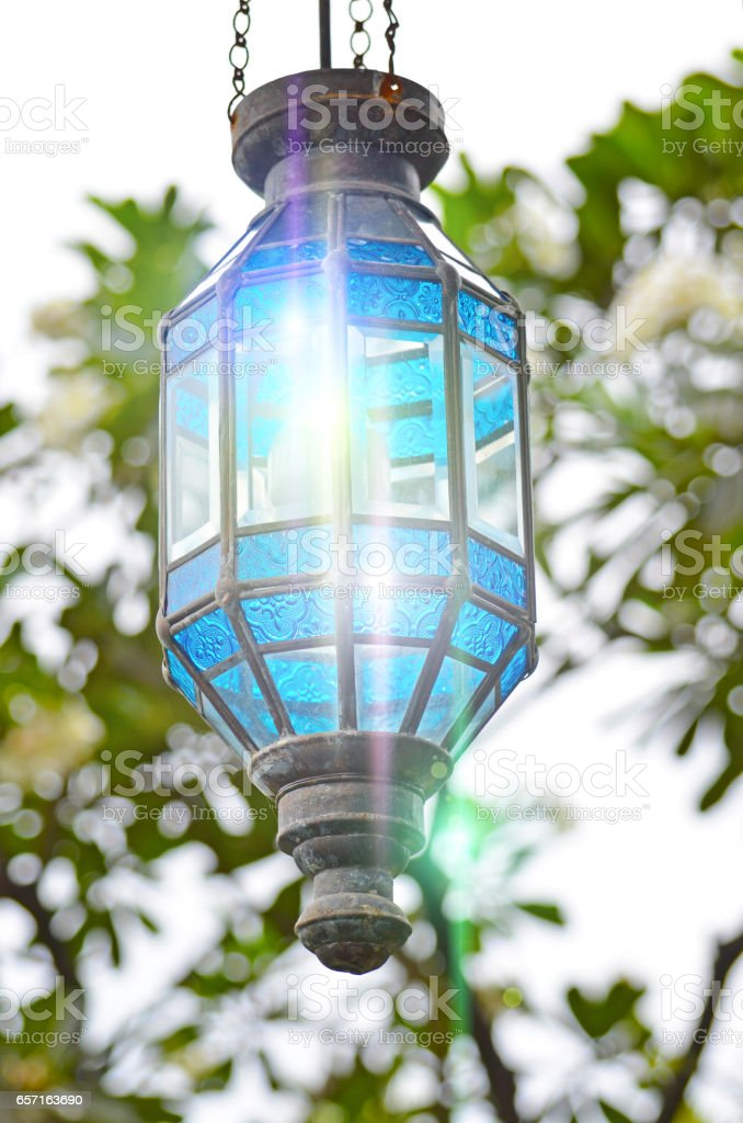 Decorative street lamp light glare glass stock photo