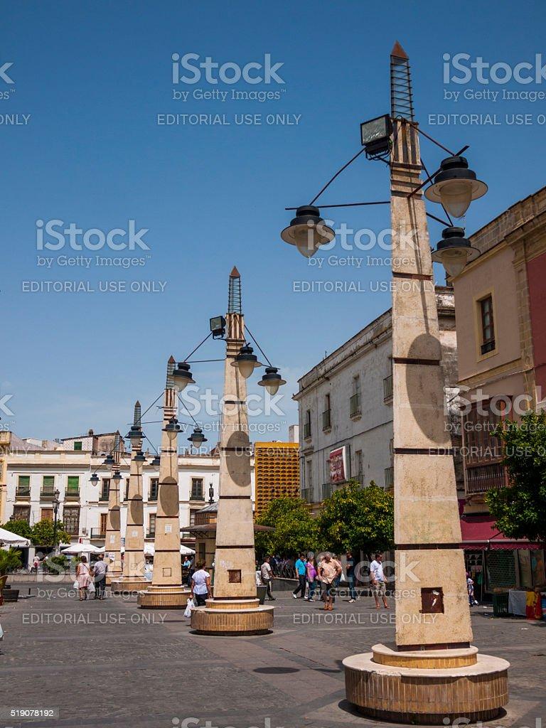 Decorative Street Lamps in Jerez, Spain stock photo