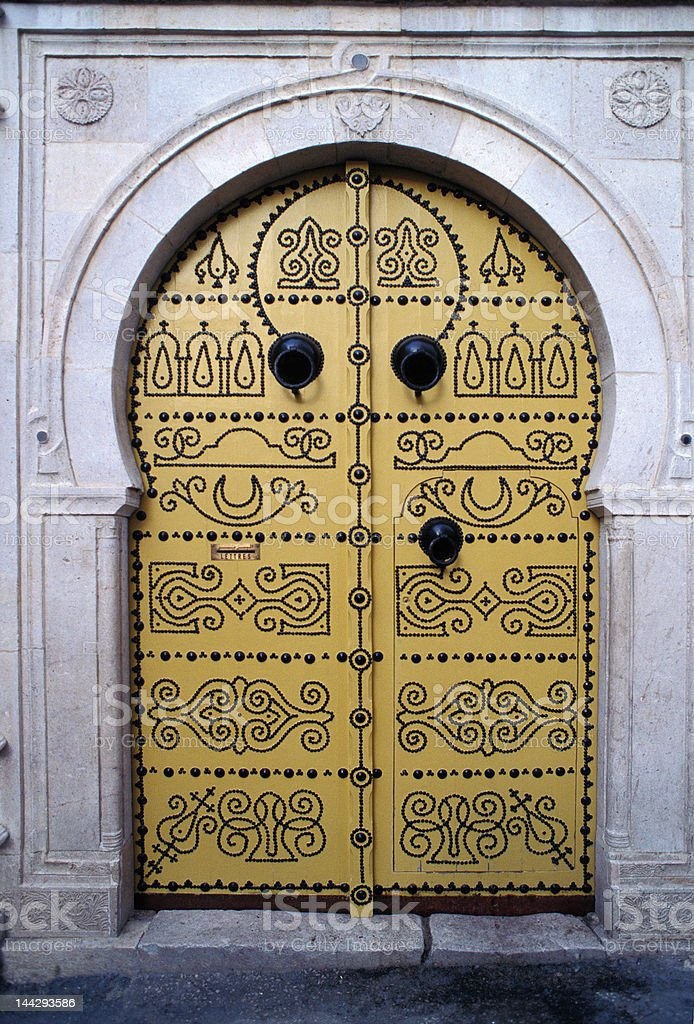 Decorative Studded Door in Tunis royalty-free stock photo