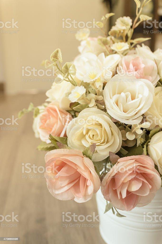 Decorative sweet flower in vase . stock photo