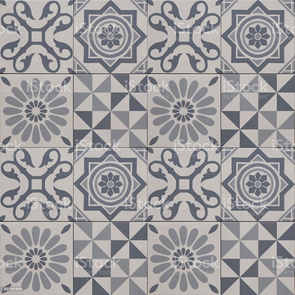 decorative tile pattern , geometric patchwork design stock photo