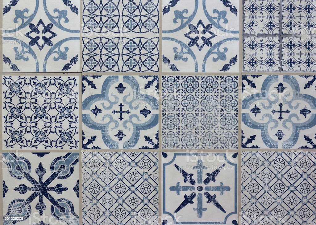 decorative tile pattern patchwork design - blue, white stock photo