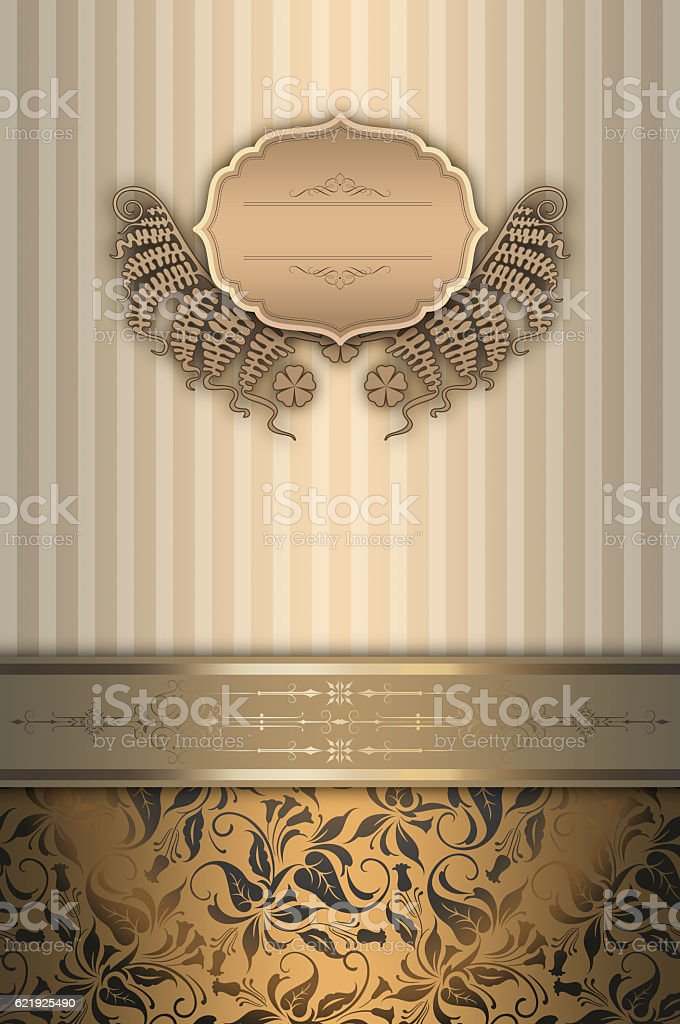 Decorative vintage background with frame and patterns. stock photo