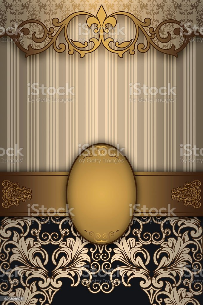 Decorative vintage background with gold patterns. stock photo