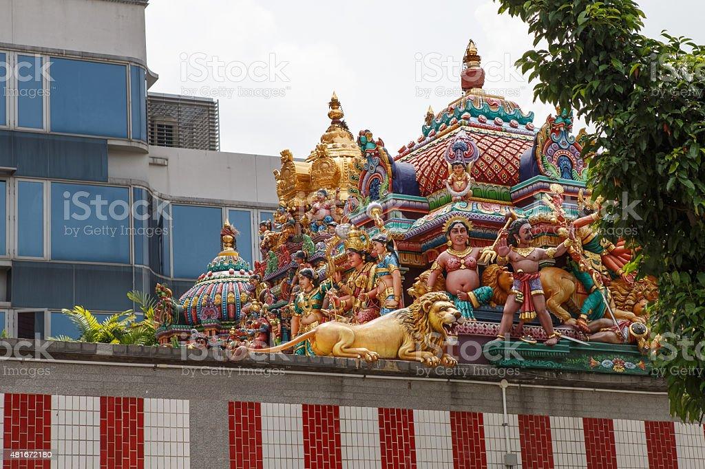 Decorative walls of Sri Veeramakaliamman Temple, Little India, S stock photo