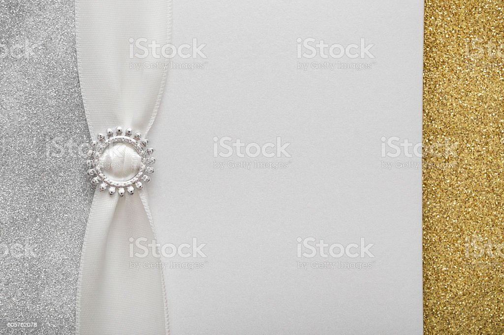 Decorative white silver gold invitation card with copy space composition stock photo