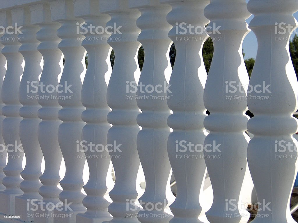 Decorative white stone fence royalty-free stock photo