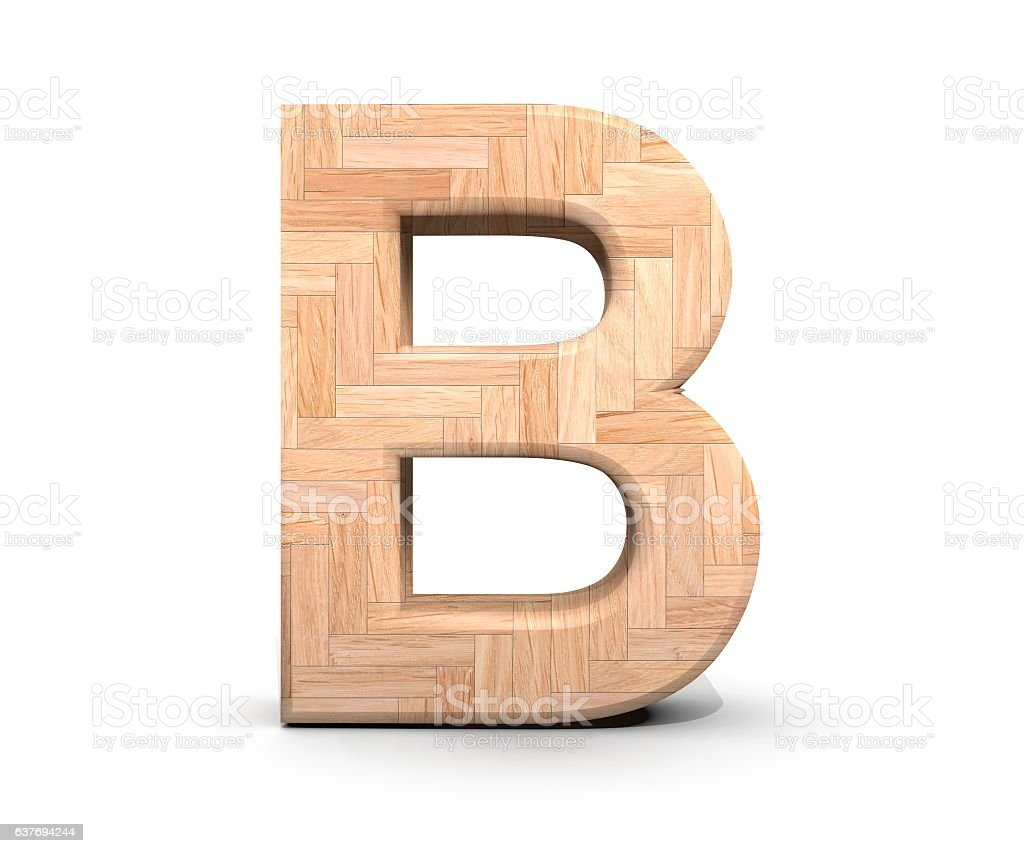 3D decorative wooden Alphabet, capital letter B stock photo