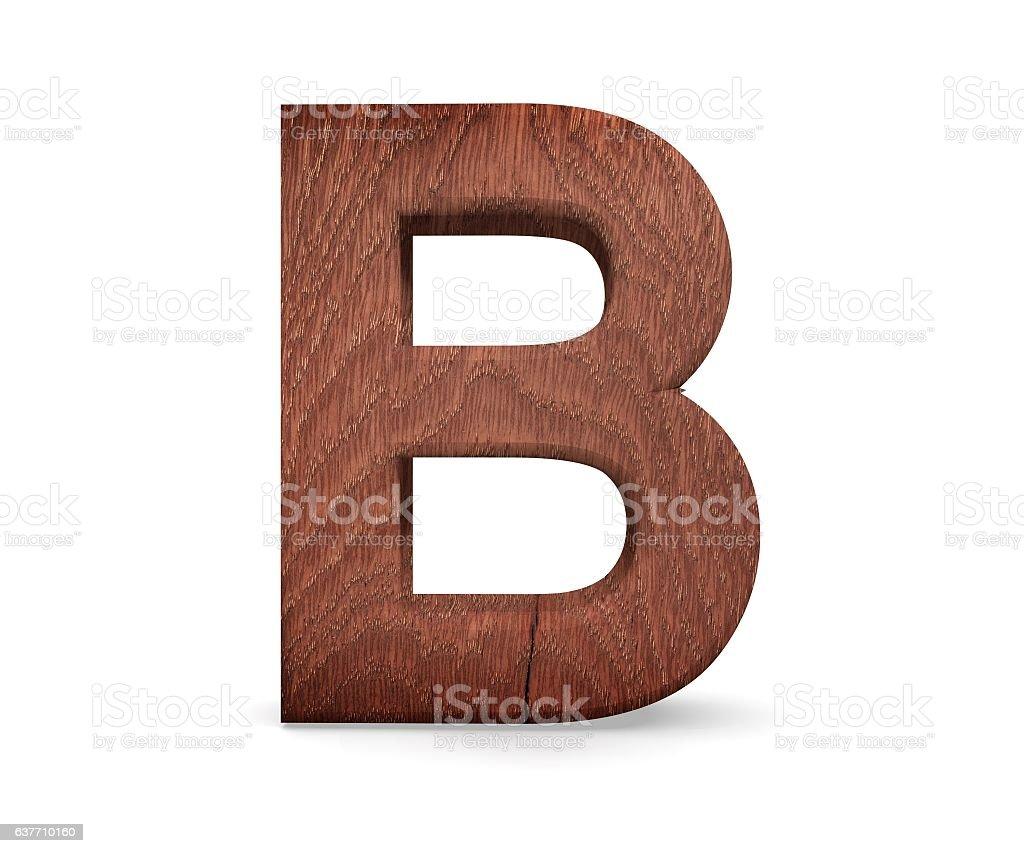 3D decorative wooden Alphabet, capital letter B stock photo