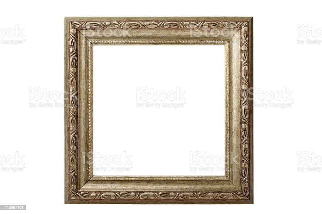 A decorative wooden frame with no picture stock photo