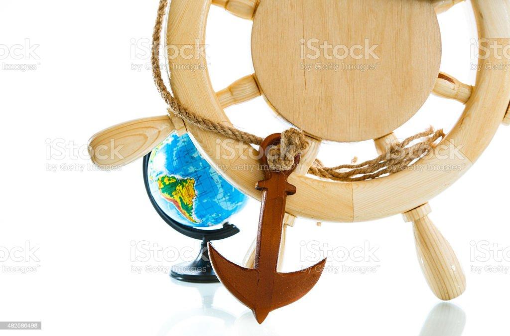 Decorative wooden steering wheel stock photo