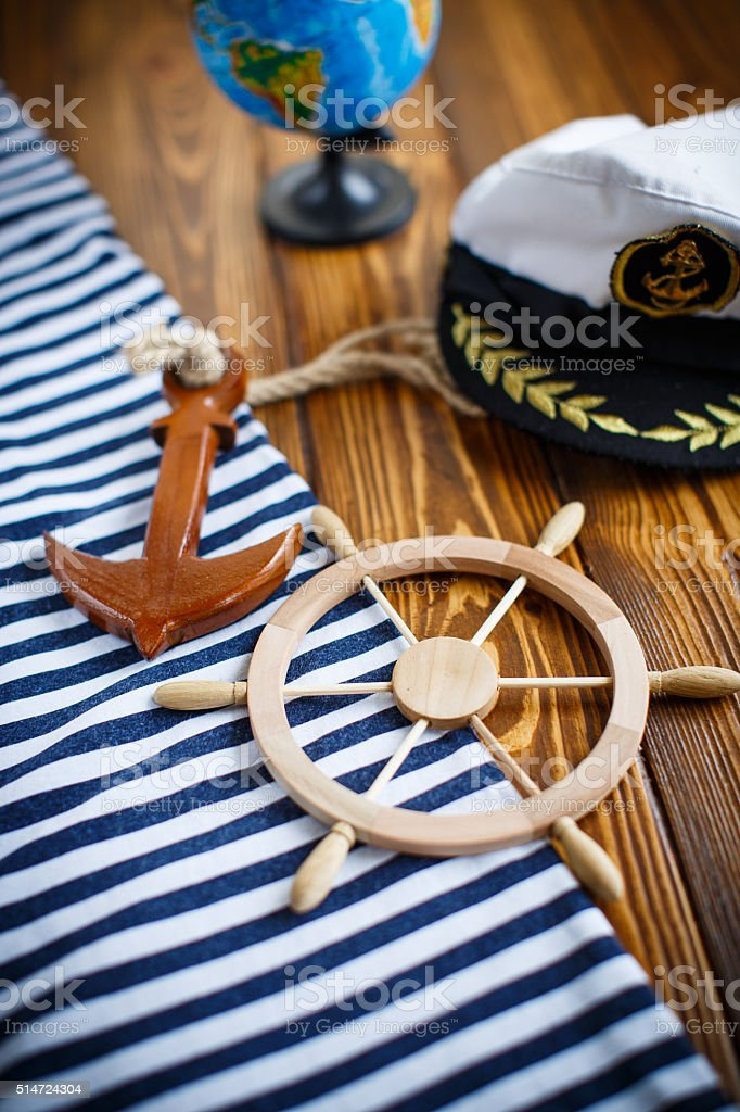Decorative wooden steering wheel stock photo