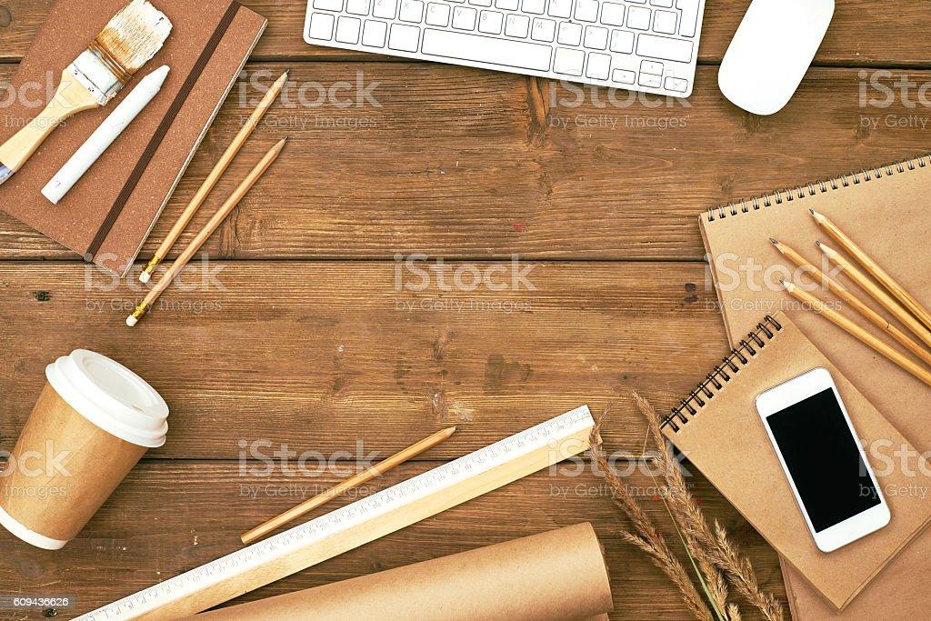 Decorators table stock photo