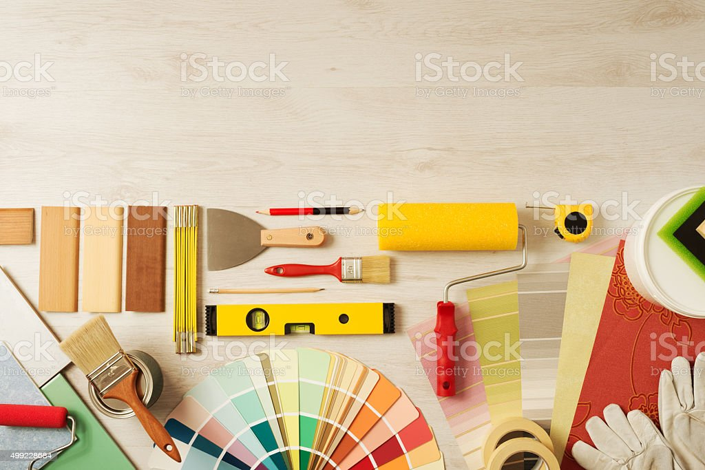 Decorator's work table with tools stock photo