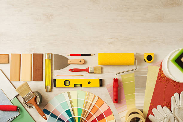 Decorators Work Table With Tools Stock Photo