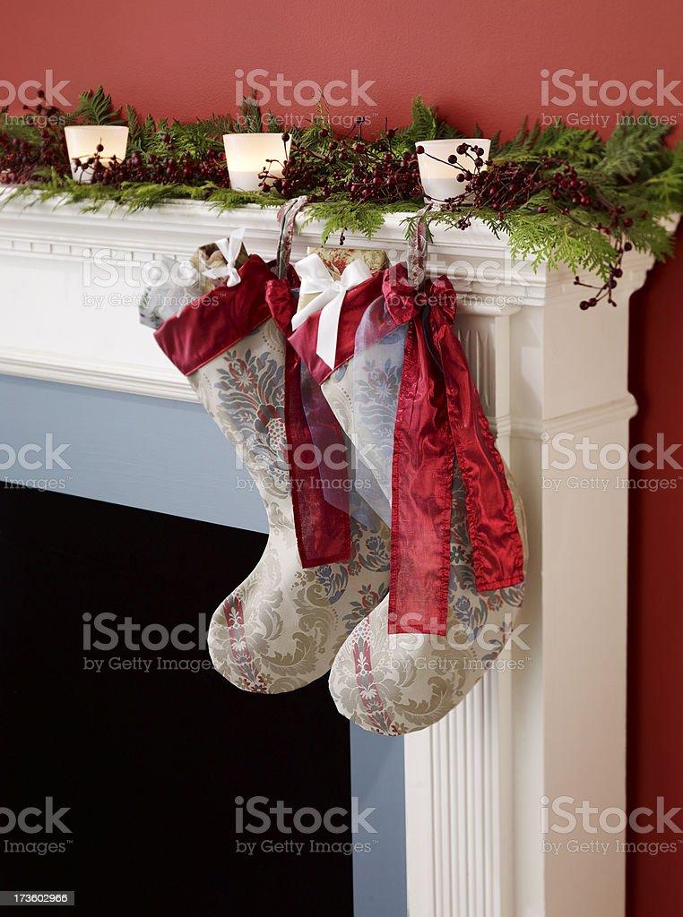 Decor-Stockings on Mantle royalty-free stock photo