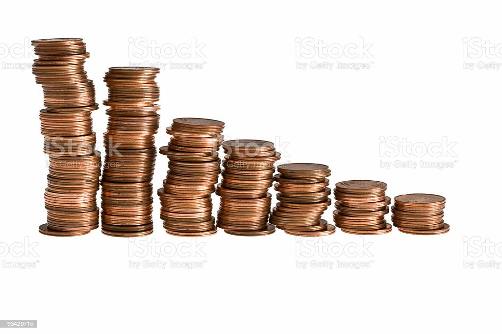 decreasing earnings stock photo