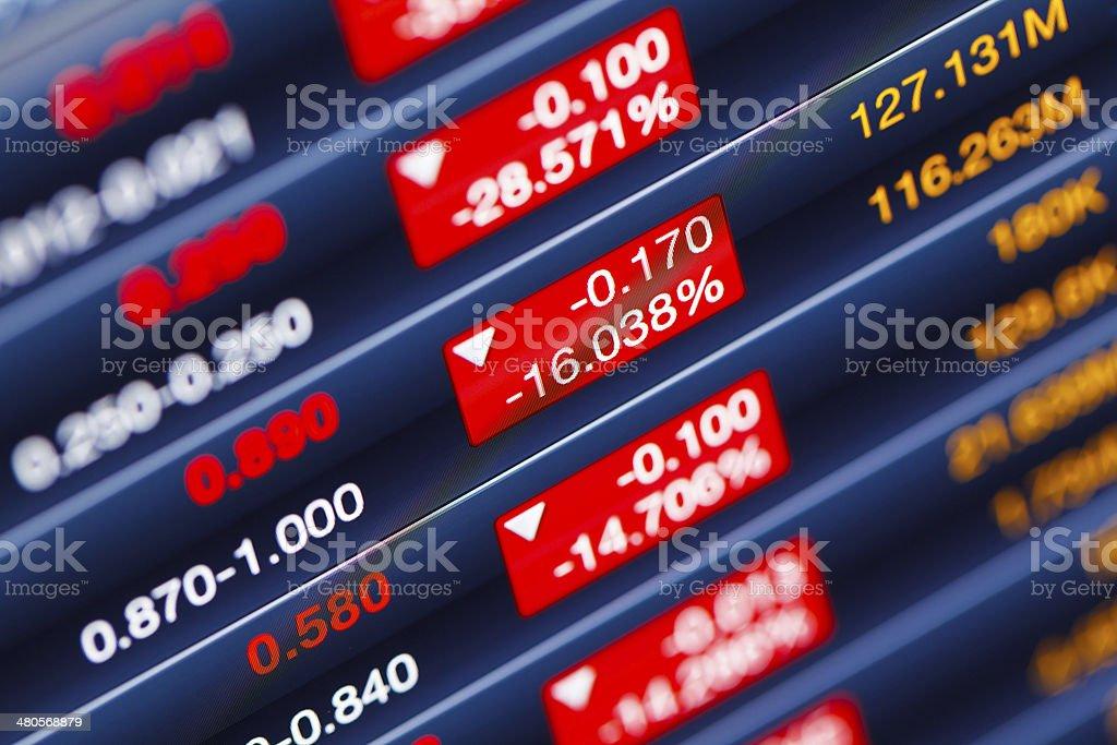 Decreasing of stock market stock photo