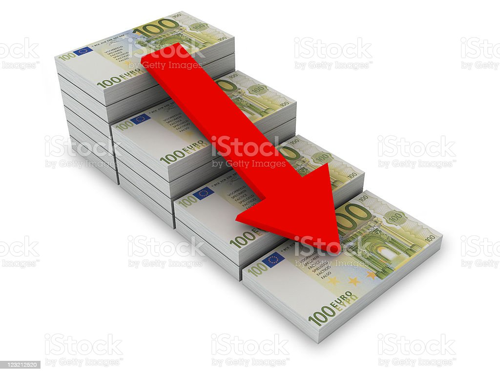 Decreasing value of Euro. royalty-free stock vector art