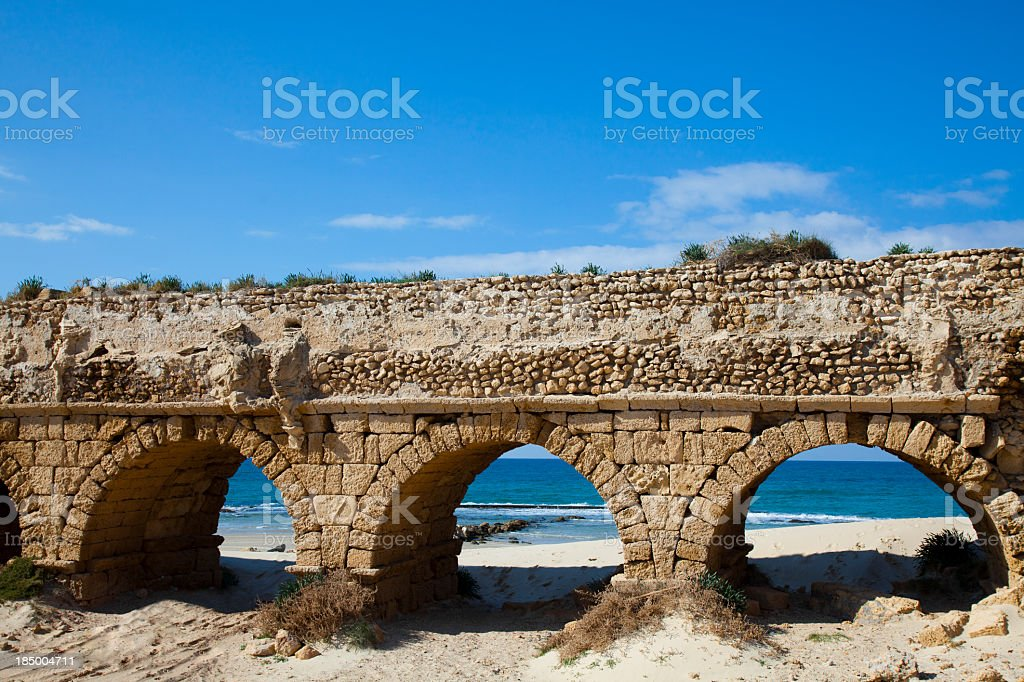 Decrepit anchor aqueduct with arches stock photo