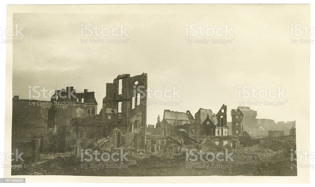 Decrepit Buildings in Bremen Germany During the War stock photo