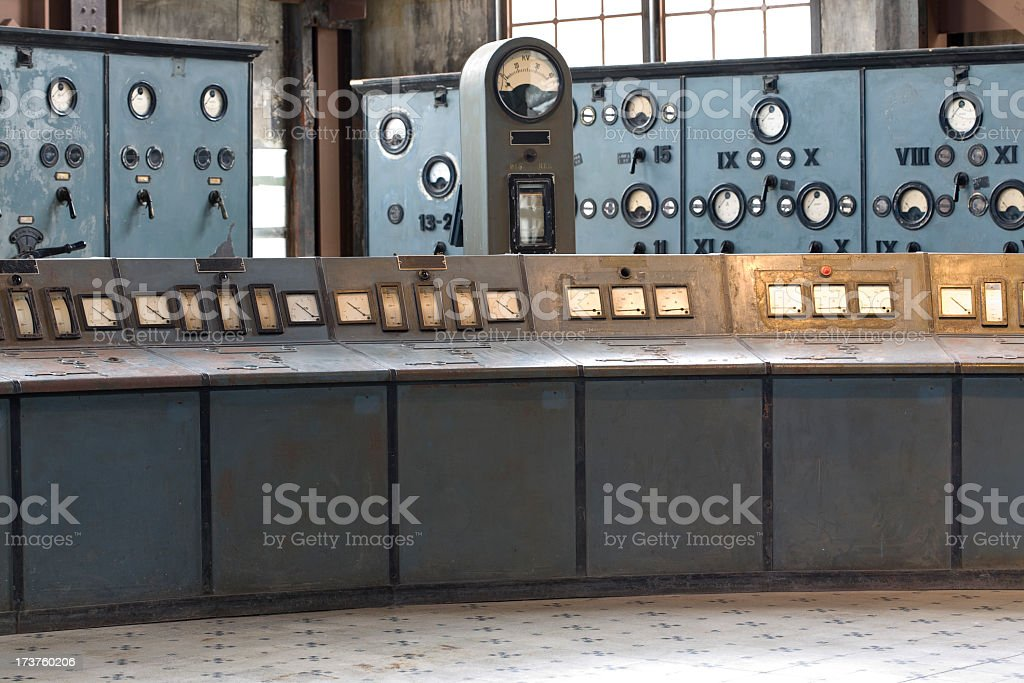 Decrepit Control room royalty-free stock photo