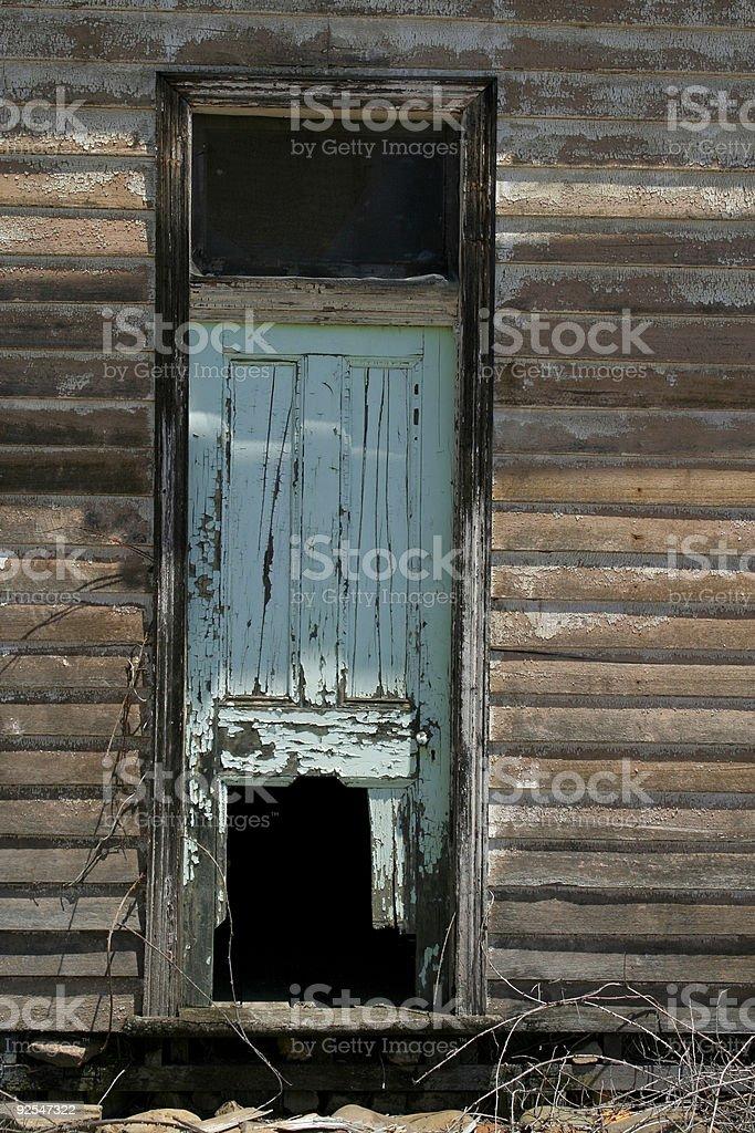 decrepit old side door stock photo