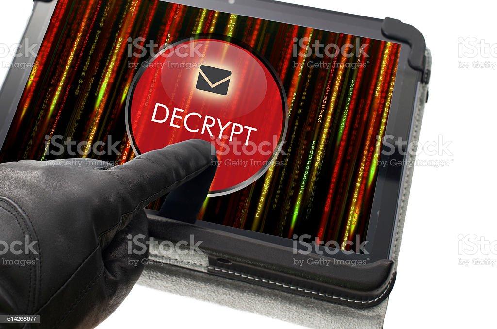 Decrypting e-mail concept stock photo
