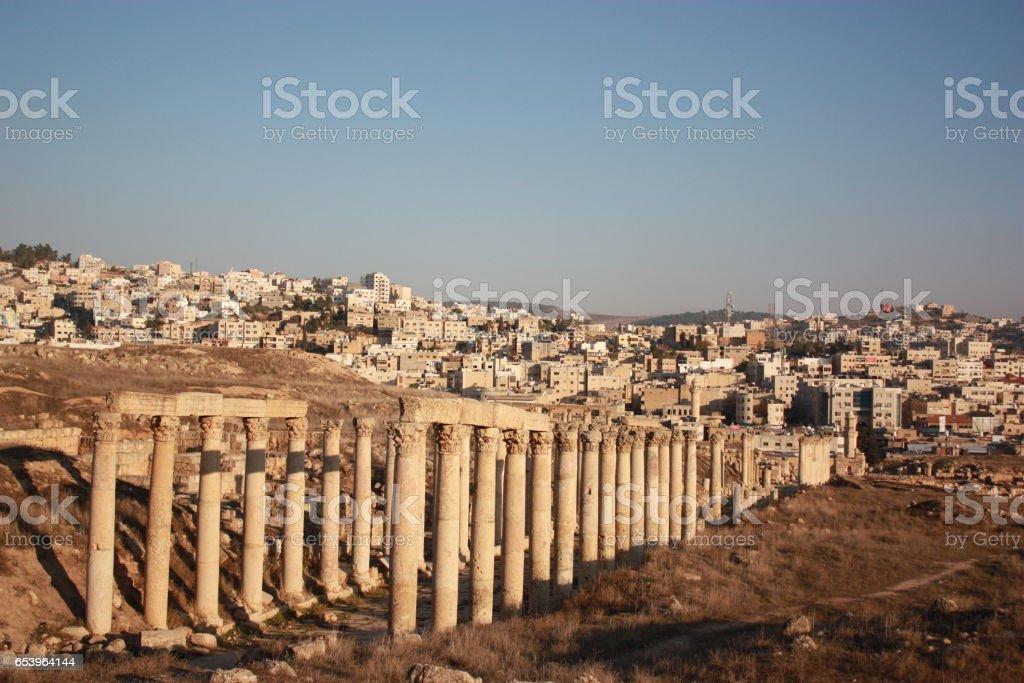 Decumanus in Jerash in Jordan, Middle East stock photo